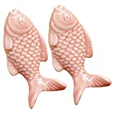 FirstDecor 2PCS 55mm Pink Cute Fish Shape Ceramic Door Knob Handle Pull-Kid's Room Great & Fun Decor Pull Knobs for Cupboard/Cabinet/Wardrobe/Drawer/Bathroom 7 Colors Available