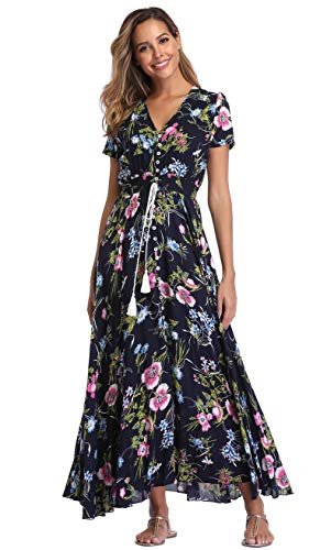 VintageClothing Women's Floral Print Maxi Dresses Boho Button Up Split Beach Party Dress,Black&floral B,Large
