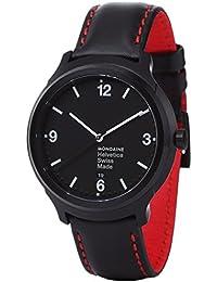 Men's MH1.B1221.LB Helvetica No1 New York Edition Red Analog Quartz Black Watch
