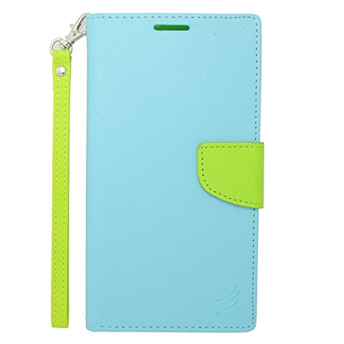Galaxy Mega 2 Case, Insten Stand Folio Flip Leather [Card Slot] Wallet Flap Pouch Case Cover for Samsung Galaxy Mega 2, Light Blue/Green