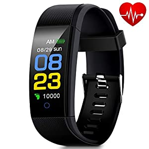 Fitness Tracker, Smart Watch Waterproof with Heart Rate Monitor, Blood Pressure Monitor, Sleep Monitor, Pedometer for Walking, Calorie Counter, Call/SMS Alert, Activity Tracker for Kids Women and Men