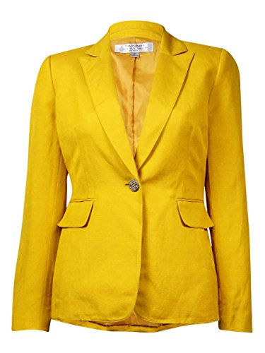 Tahari Women's Solid Notched Lapel Faux Pocket Linen Blend Blazer (18W, Honey)