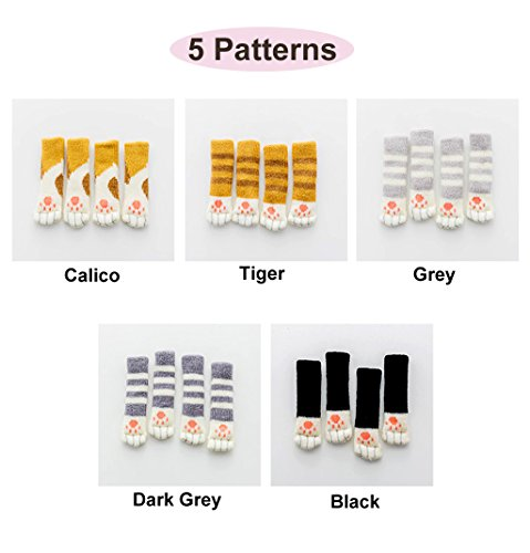 20 Chair Socks - Furniture Feet Covers Caps Pads - Flexible Anti Scratch Knitted Wool Chair Leg Floor Protectors - Cute Cat Paw Design, 5 Different Colors in 1 Pack