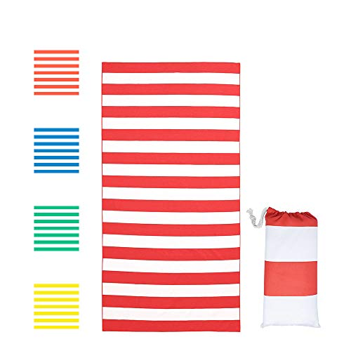 Asooll Large Size Beach Towel Microfiber,Quick Dry Towel for Swimmers, Sand Free Beach Towel, Beach Towels Blanket for Kids & Adults (Red, 35X70 inch) -