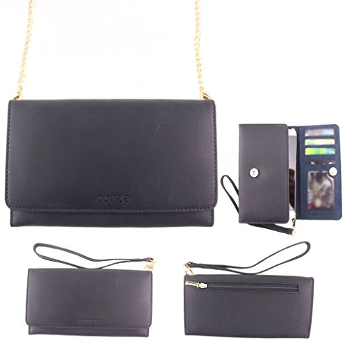Conze Genuine Leather Purse/Wallet Phone case with Cross Body Strap fits Posh Pegasus 4G / Plus in Black