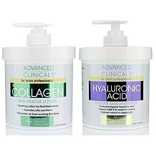 Advanced Clinicals Collagen Cream & Hyaluronic Acid Cream Set. Collagen Rescue Lotion Restores Sagging Skin & Dry Skin. Hyaluronic Acid Anti Aging Cream Hydrates & Moisturizes Dry Skin. Two 16oz Jars.