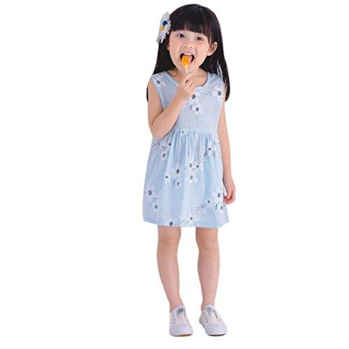 GONKOMA Baby Girls Toddler Summer Sleeveless Vest Dress Floral Print Bowknot Clothes