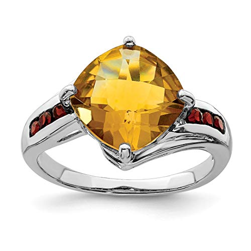 - 925 Sterling Silver Yellow Citrine Red Garnet Band Ring Size 7.00 Stone Gemstone Fine Jewelry Gifts For Women For Her