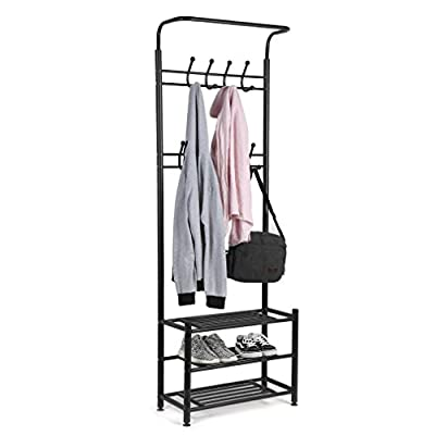 GOGOUP Entryway Hall Tree Multi-Purpose Metal Entryway Coat Shoe Rack 3-Tier Corridor Clothes Rack Coat Hat Umbrella 9 Hooks - Sturdy and Durable:Constructed with high quality and anti-rust steel tubes,rustproof and durable; washers and bottom adjuster feet ensure better stability, zero worry for tipping over. Multi-purpose Organizer: This clothes rack combination of clothes and shoe rack,separate sections for those goods,perfect for homes and offices.The metal rack have 9 hooks, each hook has a plastic cap which can perfect protect your clothes and scarves from scratching when you pull they out of the rack, these hooks can hold jackets, backpacks, bags, hats, umbrellas, scarves and more Practical:Easy Assembly and Cleanness: Easy to assemble and easy to clean.It is an ideal storage solution for your living room, bedroom, office and entryway, makes organizing much easier. - hall-trees, entryway-furniture-decor, entryway-laundry-room - 41d3QqOMHXL. SS400  -