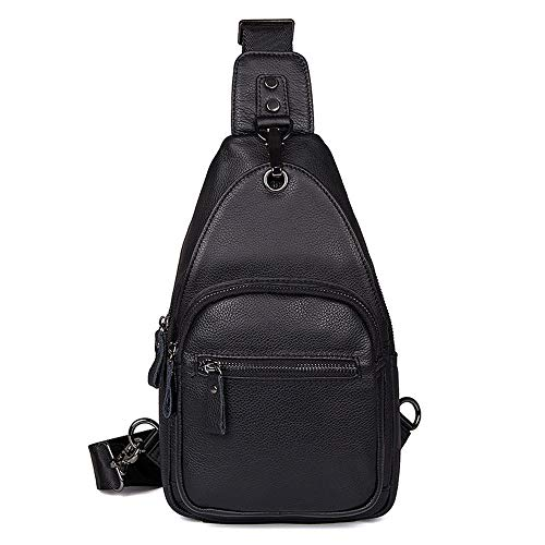 Suitable Casual Large Genuine Business Men's Black Black For Everyday Style Capacity Carry color Asdflina Use Travel Backpack Chest Bag Leather xO1pdw