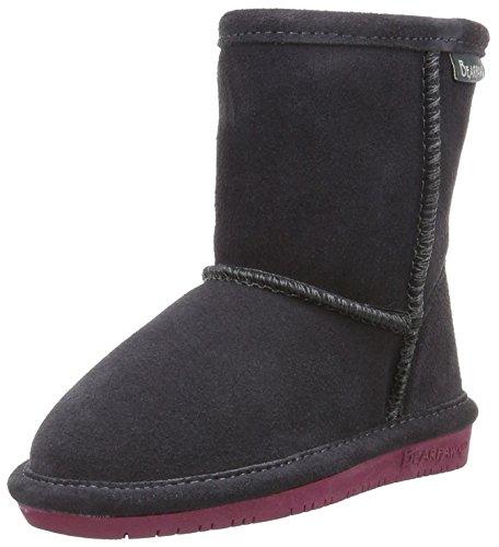 BEARPAW Girls' Emma Zipper Mid Calf Boot, Charcoal/Pomberry, 11 M US Little Kid