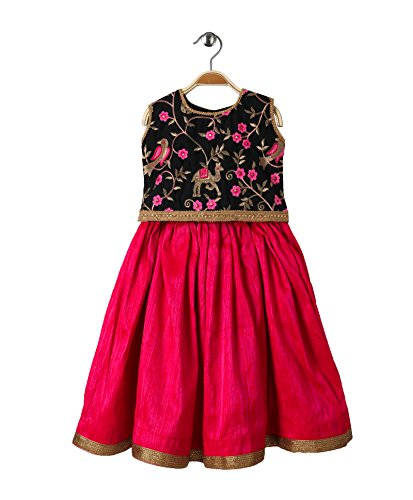 - Mom's Girl Brocade Lehenga & Choli Set -Black embroidery and Pink,Ethnic wear, girl dresses,silk Lehenga choli (3-4 years)