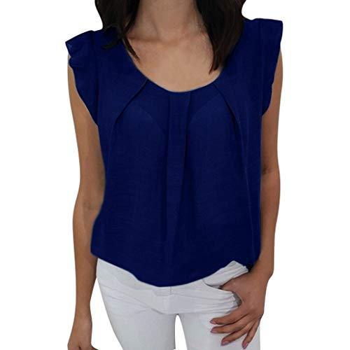 2019 Summer Women Sexy Ruffle Sleeveless Vest O- Neck Solid Chiffon Blouse Casual Loose T-Shirt Tank Tops S-2XL (Blue, S) ()