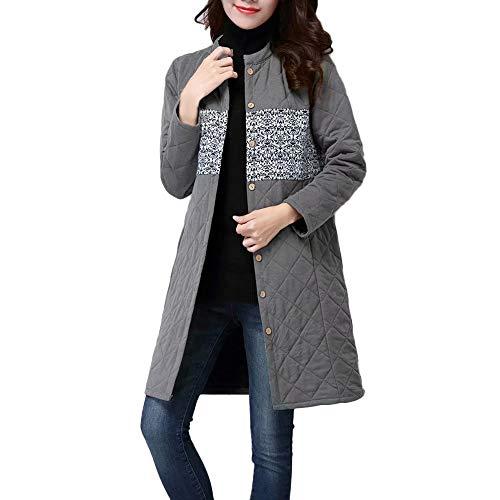 Women Cotton Linen Winter Coat Folk-Custom Printing Splicing ()