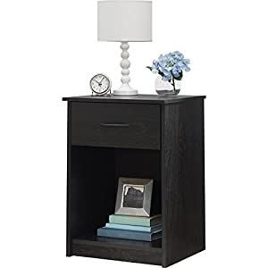 Mainstays Nightstand Side End Table, Multiple Finishes (Ebony)