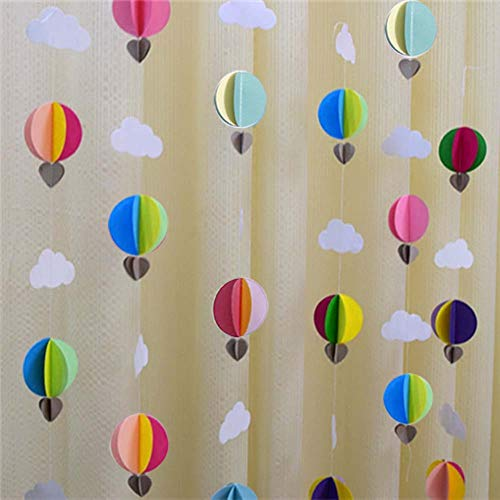 3D Colorful Clouds Curtain Hanging Paper Flower(3pack X 9.2ft), Rainbow Cloud Dots Love Paper Flower Party Streamers for Kids DoorDecoration, Wedding Birthday Party Supplies