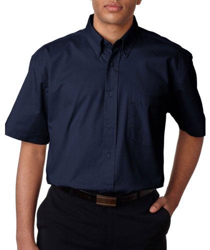 UltraClub mens Short-Sleeve Whisper Twill(8977)-NAVY-3XL (Ultraclub Woven Shirts)