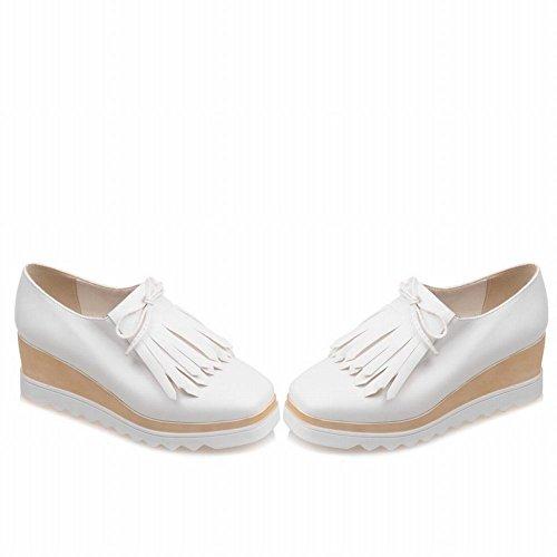 Latasa Womens Tassels Square Toe Slip on Platform Wedges Shoes White DBofHRPEY