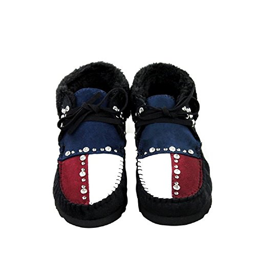 Montana West Texas USA Patriotic Ankle Boots Moccasins Shoes Jp Black Red Blue (8)