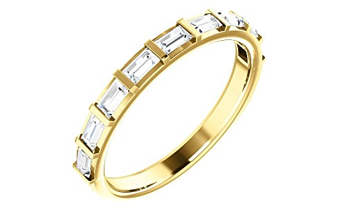 (Jewels By Lux 14K Yellow Gold 1/2 CTW Diamond Straight Baguette Anniversary Wedding Ring Band)