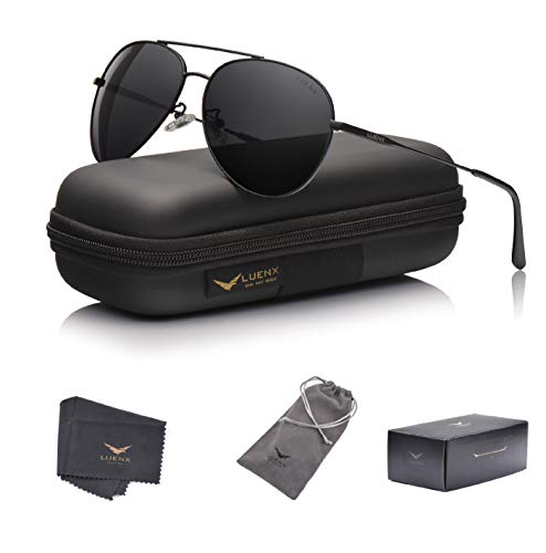 LUENX Men Women Aviator Sunglasses Polarized Non-Mirrored All Black Lens Metal Frame UV 400 Driving Fashion with Accessories