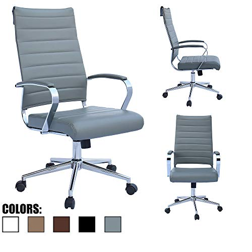 2xhome Grey Modern High Back Tall Ribbed PU Leather Swivel Tilt Adjustable Chair Designer Boss Executive Desk Study Reception Chrome Office Conference Room Table Work Task Computer Gray