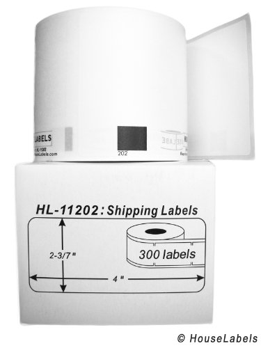 "BROTHER-Compatible DK-1202 Shipping Labels (2-3/7"" x 4""; 62mm100mm) -- BPA Free! (6 Rolls; 300 Labels per Roll)"