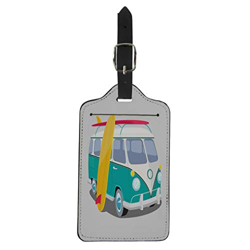 (Pinbeam Luggage Tag Bus Surfer Van Graphics Transportation and Surfing Sport Suitcase Baggage Label)