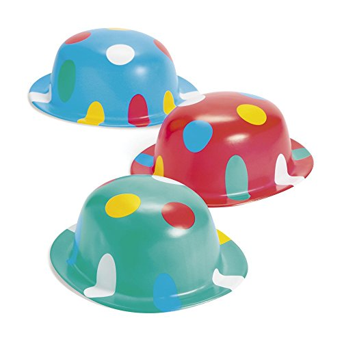 12 Plastic Polka Dot Derby PARTY Hats BIRTHDAY CARNIVAL CIRCUS BIG TOP CLOWN ()