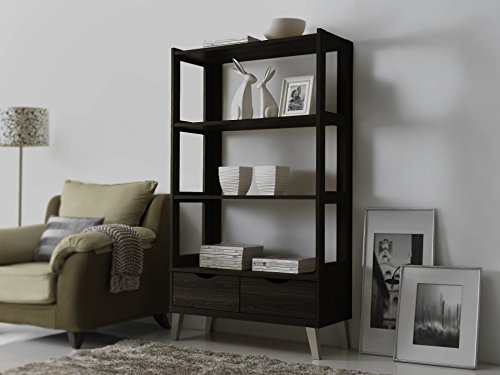 Baxton Studio Kalien Modern & Contemporary Wood Bookcase with Display Shelves & Two Drawers, Dark Brown