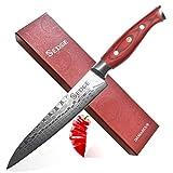 SEDGE Slicing Carving Knife 8 Inch - Japanese AUS-10V Dragon Pattern Damascus Steel - Brisket Slicing Knife with Ergonomic G10 Handle - SD-R Series