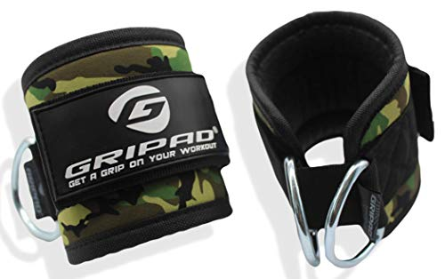 Gripad Ankle Straps for Cable-Machines | Dual Stainless-Steel D-Rings | Adjustable Neoprene Cuffs for Glute & Leg…