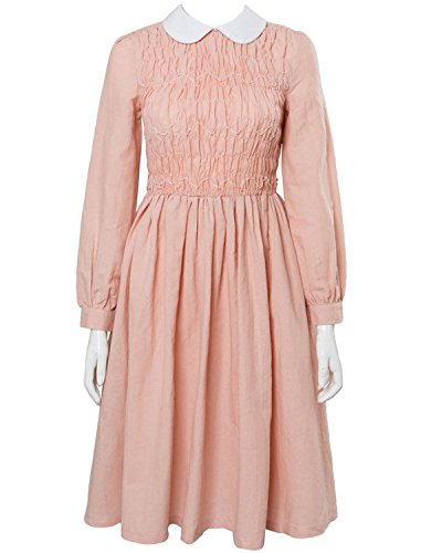 Halloween Stranger Things Eleven Millie Bobby Cosplay Costume Pink Dress Gown Suit