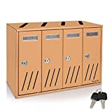 Modern Wall Mount Locking Mailbox - 4 Compartment Outdoor Universal Vertical Mounted Mailbox - Aluminum Large Capacity Home/Office Drop Slot with Secure Lock Key - Serenelife (Bronze)