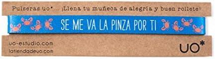 UO-Pulsera Estampado Se ma va la Pinza por ti, Color Azul Marino y Coral