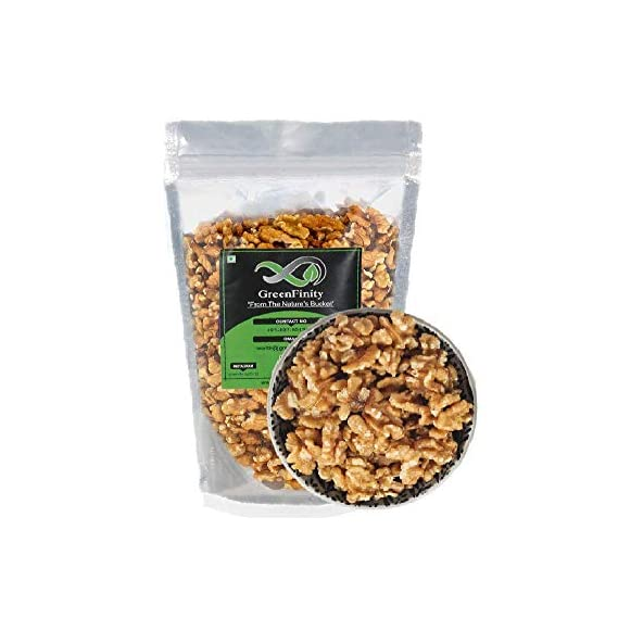 GreenFinity: Walnut Kernels - 1Kg | Grade - 8 Pieces, Broken | Akhrot Giri California Without Shell | Vacuum Pack | Premium Quality.