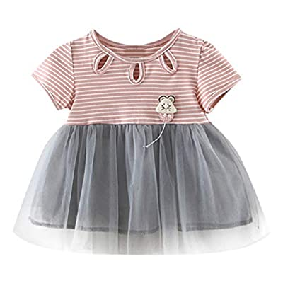 NUWFOR Newborn Kids Baby Girl Striped Tulle Patchwork Tutu Princess Party Dress