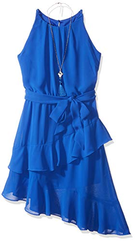 Amy Byer Girls' Big Sleeveless Dress with Asymmetrical Hem, neon Cobalt, 7