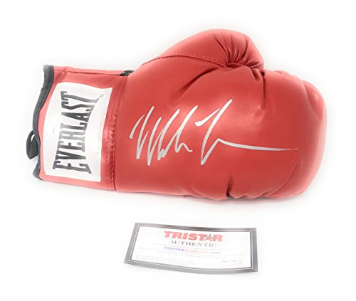 (Mike Tyson Signed Autograph Boxing Glove In Silver Tristar Authentic Certified)