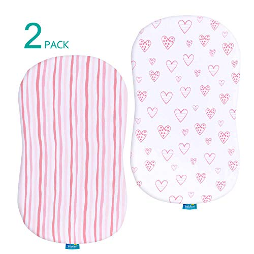 Biloban Bassinet Sheets 2 Pack, 100% Jersey Knit Cotton Fitted Sheets, Universal Fit, Ultra Soft, Pink Stripes and Hearts Print for Baby Girls