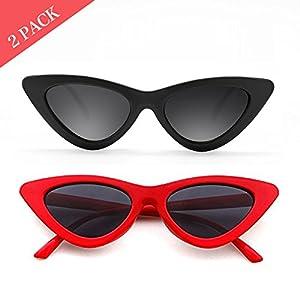 Cat Eye Sunglasses for Women Red Black Retro Style Plastic Frame UV Protection 2 pack