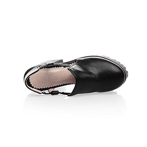Amoonyfashion Mujeres High Heels Material Suave Solid Pull On Sandalias De Punta Cerrada Negro