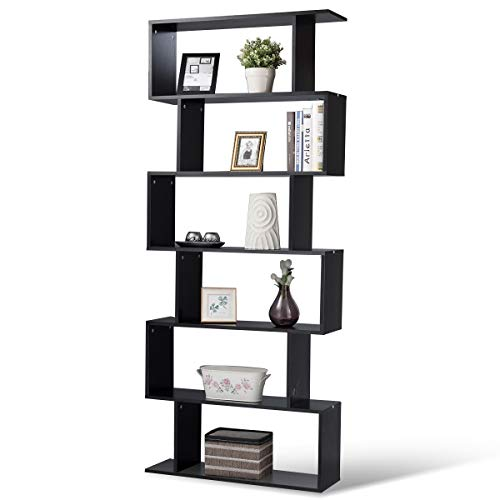Tangkula 6 Shelf Bookcase S-Shaped Z-Shelf Style Bookcase Multifunctional Wooden Storage Display Stand Shelf Modern & Simple Living Room Free Standing Book Shelf Storage Shelf (Black) (Room Living Style Furniture)