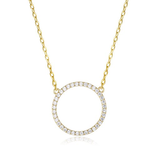 PAVOI 14K Gold Plated CZ Simulated Diamond Circle Halo Necklace - Yellow (Pregnant Girl Costumes)