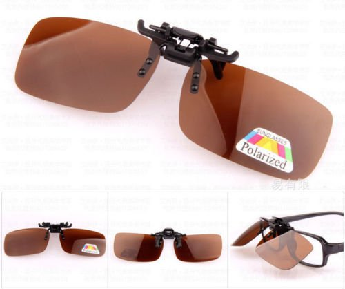 XENO-1X Polarized Clip On Flip Up Sunglasses Mirrored Clip for Myopia Glasses - Gradient Clip Sunshade On
