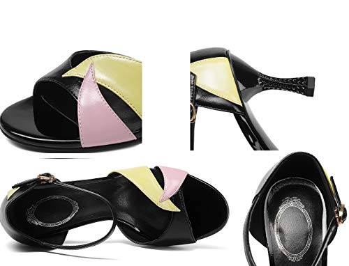 with High Heels Leather Lady Sandals Mouth Women's Lady Ultimate Heels Handmade Heels Pink Fashion High Sandals Peeps Fish High fine High Shoes Sandals Fashion ZdPqWP5HUB