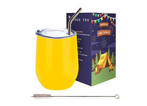 Wine Tumbler 12 Oz With Lid, Straw & Brush, Stainless Steel Double Wall Insulated Wine Glass, Perfect For Indoor & Outdoor, Beach & Camping, Best Wine Gift, Great For Cold -