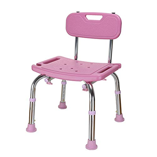 (Deluxe Multi use Perching Stool,Adjustable Height Aluminium Frame Anti-Slip Bath/Shower Chair with Removeable Back for The Elderly Pregnant Children,PinkA)