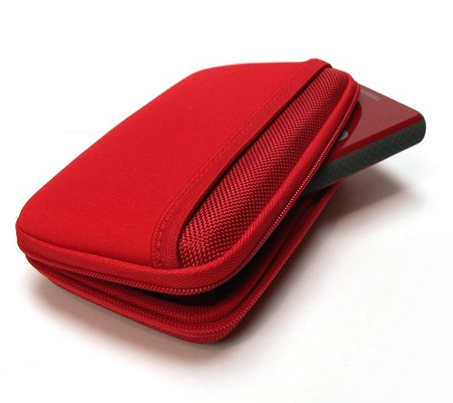 Drive Logic DL-64 Portable EVA Hard Drive Carrying Case Pouch (Red)
