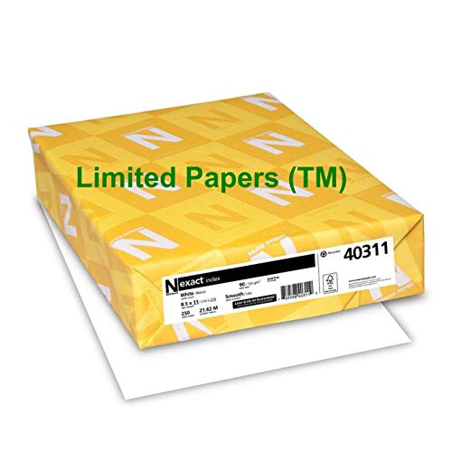 Limited Papers (TM) Exact Index Cardstock, 94 Brightness, 90 lb /163 gsm, 8.5'' x 11'', White - 40311 (8 pack- case) by Exact Index (Image #1)